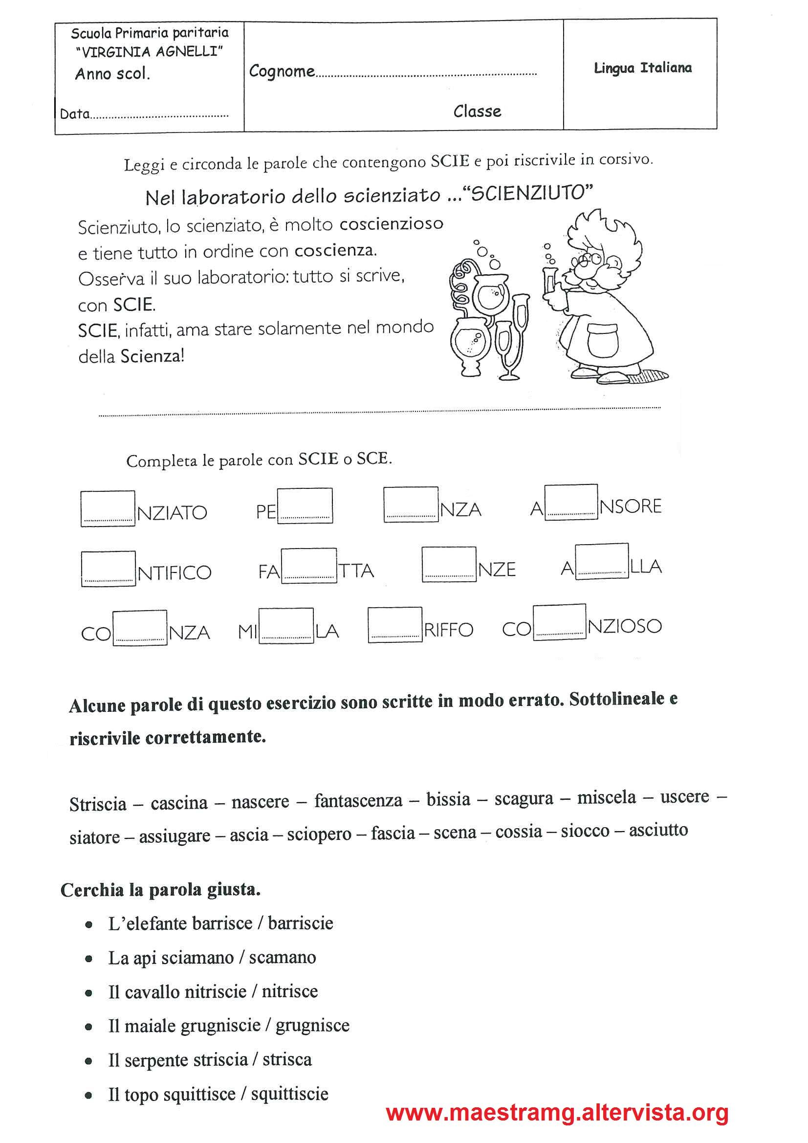 Seconda classe lingua italiana maestra mg for Parole con scie per bambini