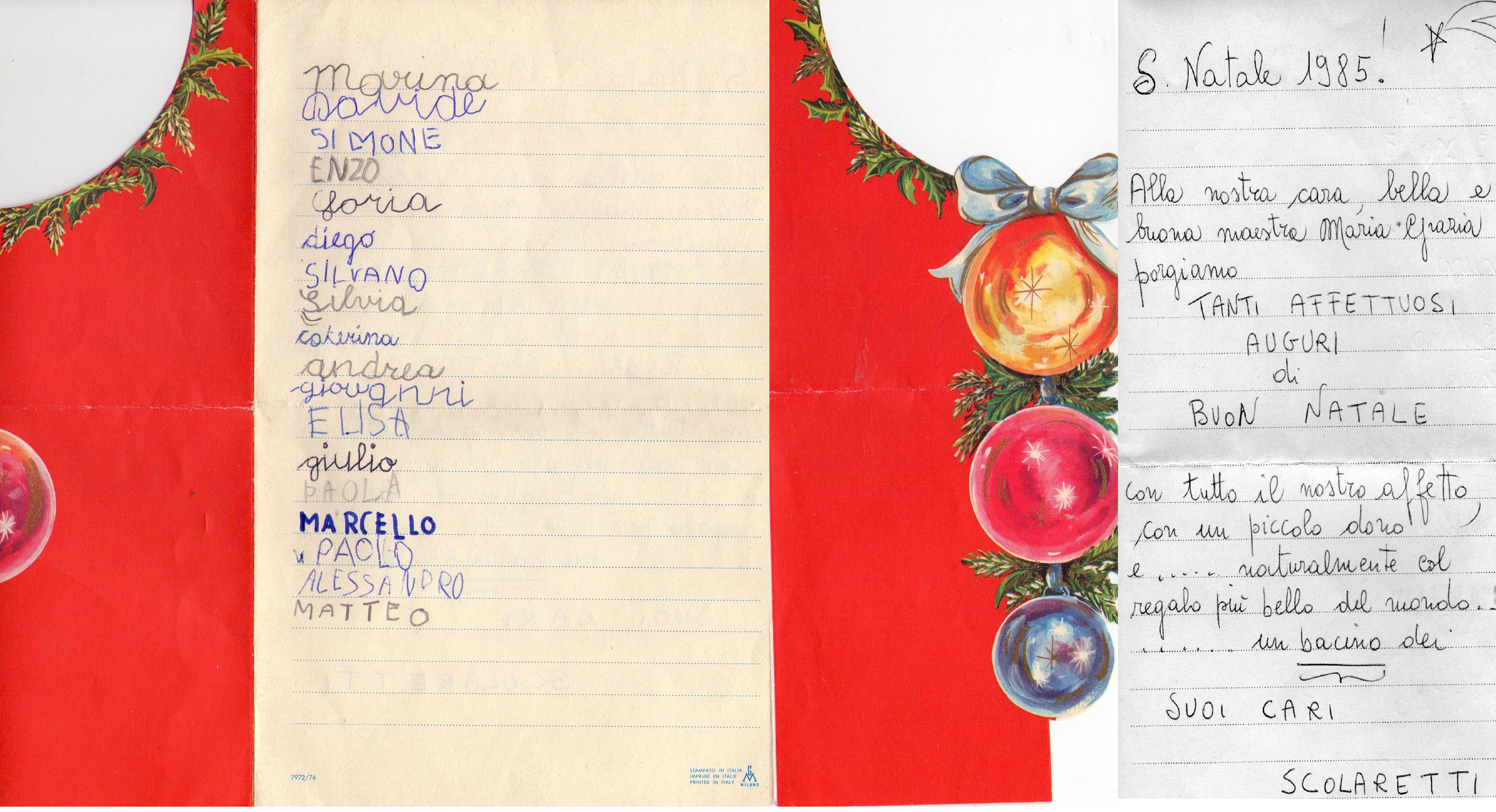 Auguri  S.Natale 1985 cl 1B