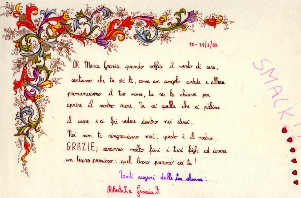 lettera FIORENTINO e Roberta