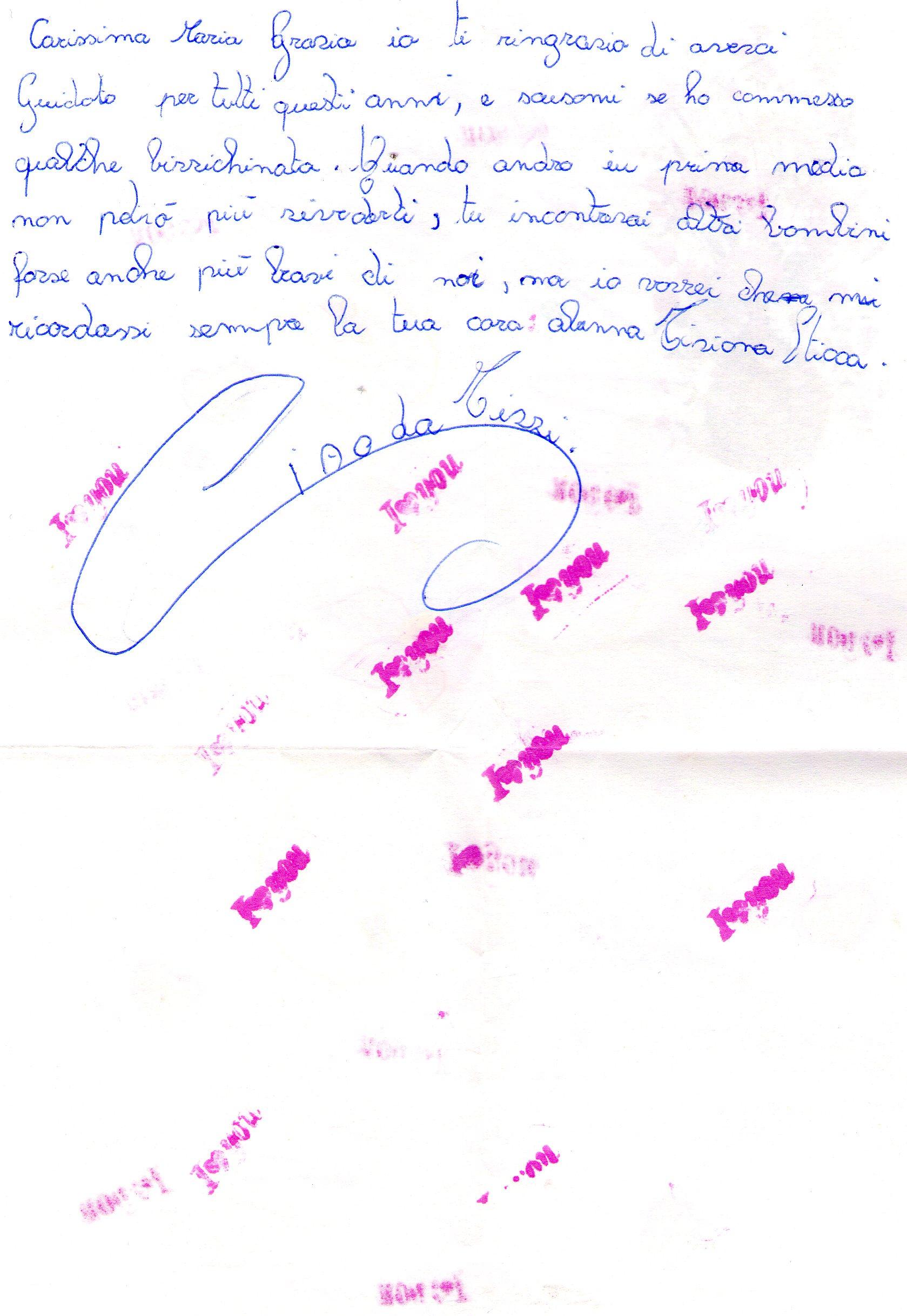lettera di Tiziana Sticca 1985