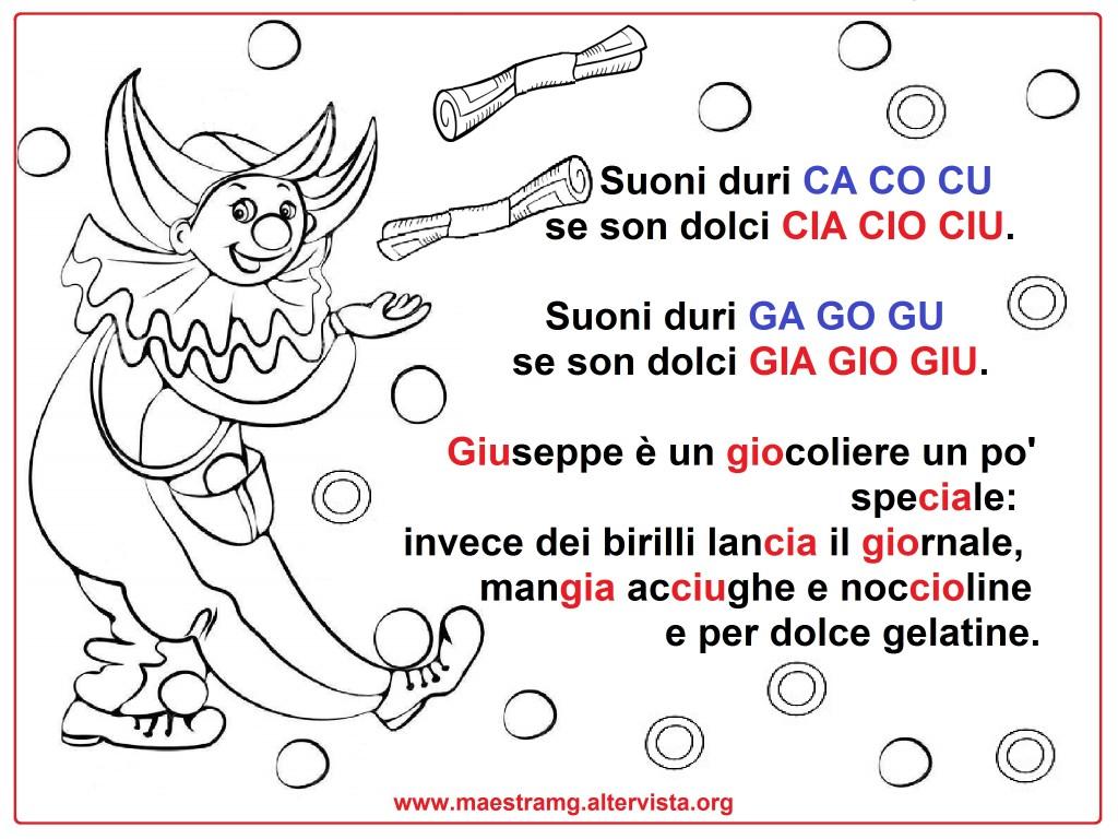 Filastrocche maestra mg for Parole con gia gio giu