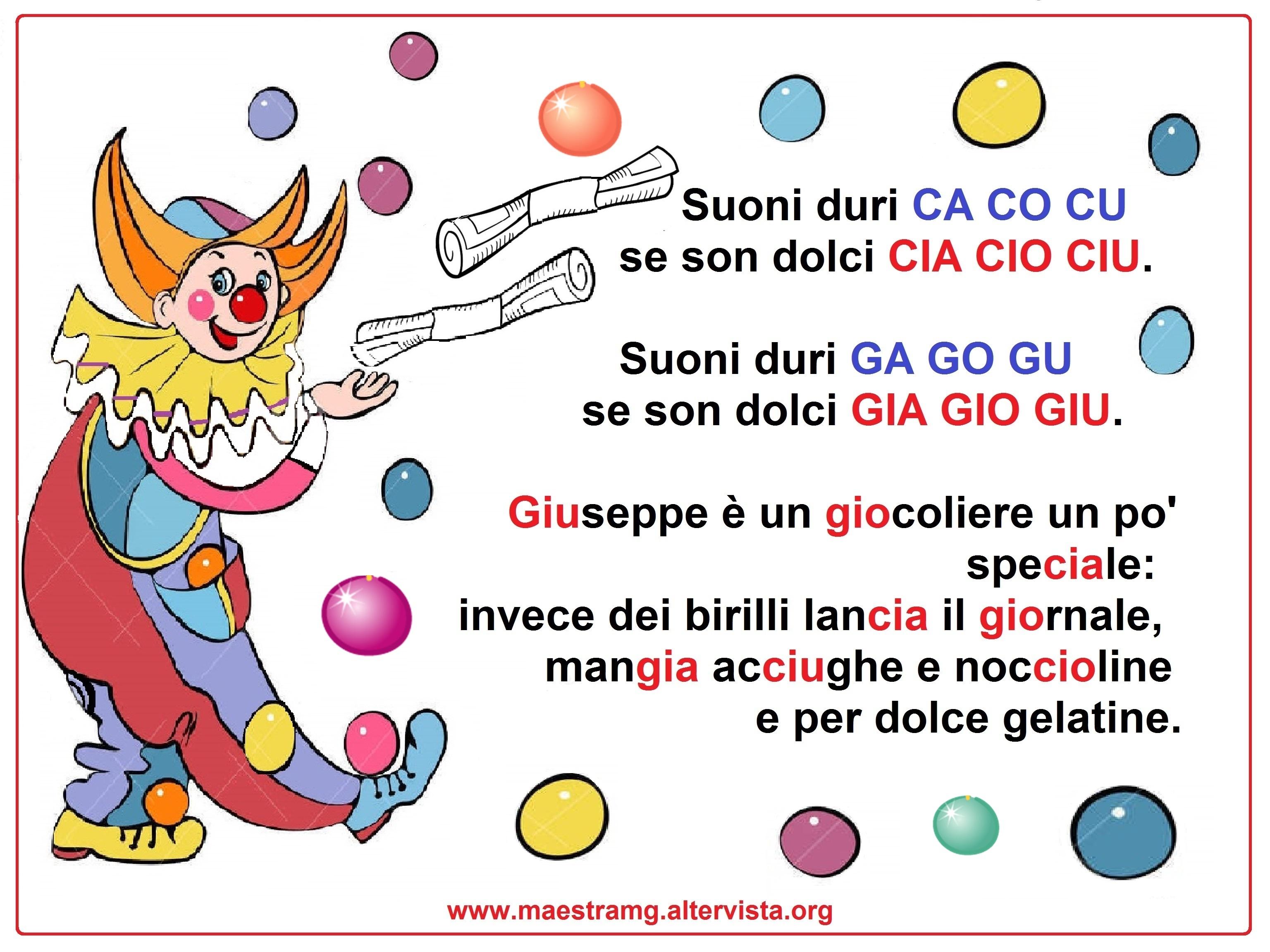 Filastrocche maestra mg for Parole con ga go gu