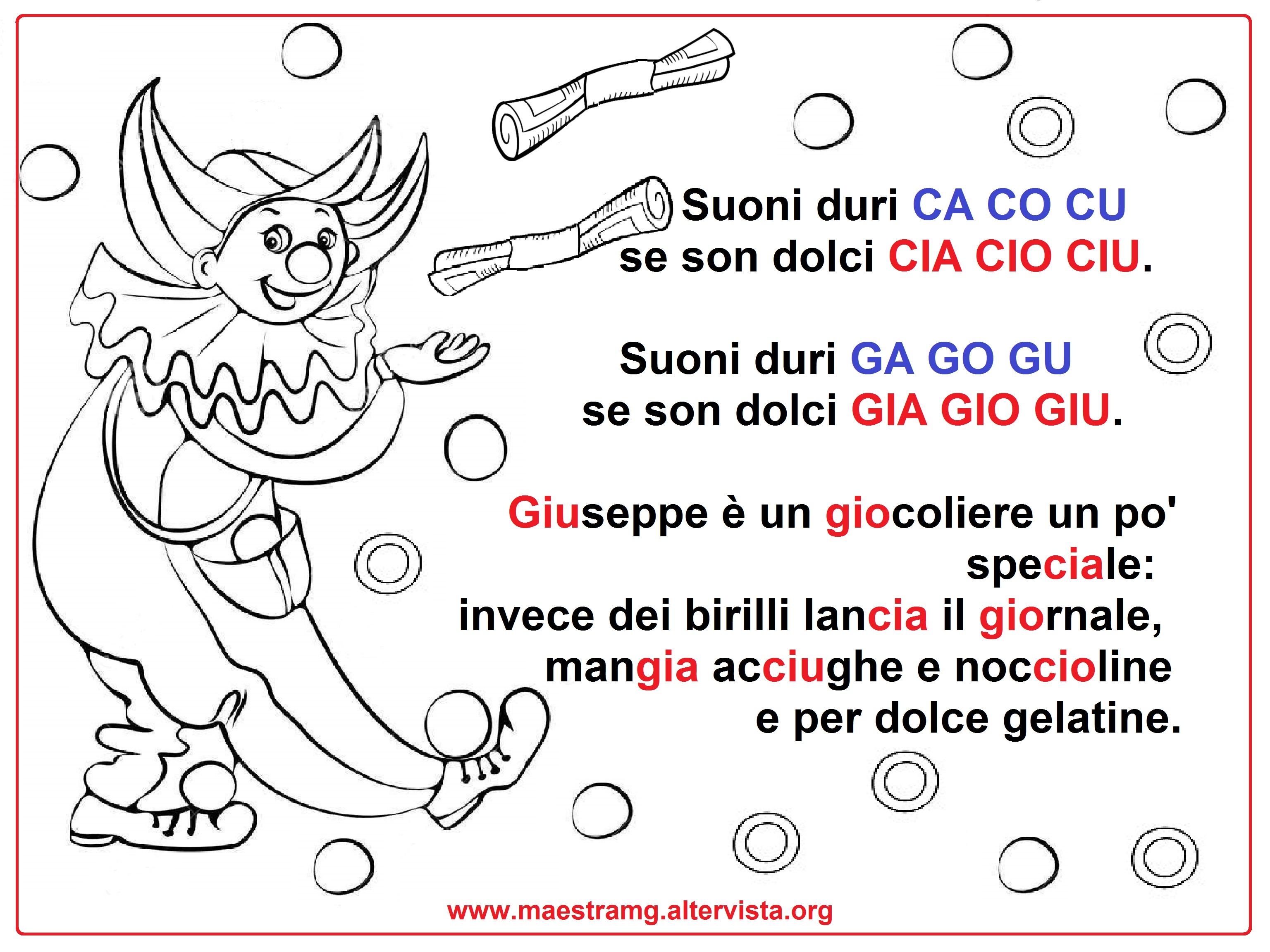Filastrocche maestra mg for Parole con gio giu